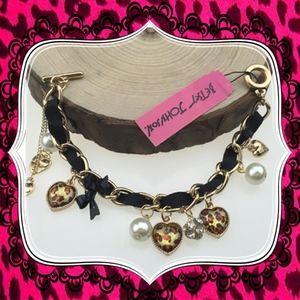 Betsey Johnson leopard heart rhinestone bracelet